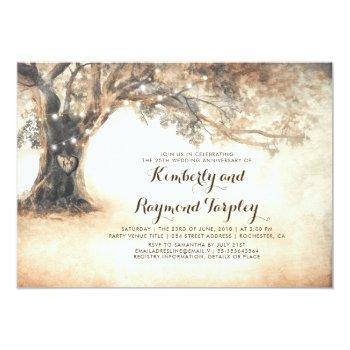 rustic oak tree string lights wedding anniversary invitation