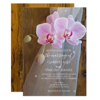 rustic orchid elegance barn wedding invitation