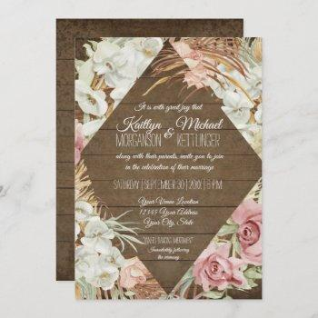rustic pampas greenery blush floral tropical beach invitation