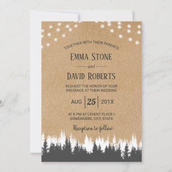 rustic pine trees & string lights forest wedding invitation