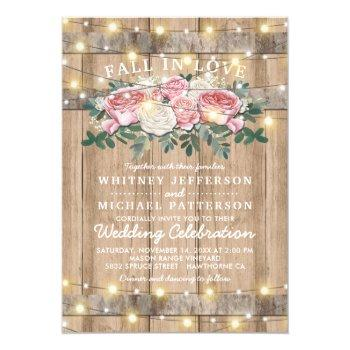 rustic pink cream eucalyptus floral wedding invitation