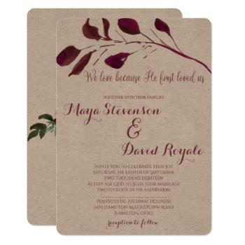 rustic plum   we love because he first loved us invitation
