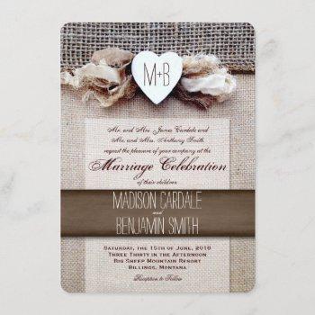rustic printed burlap heart initial wedding invite