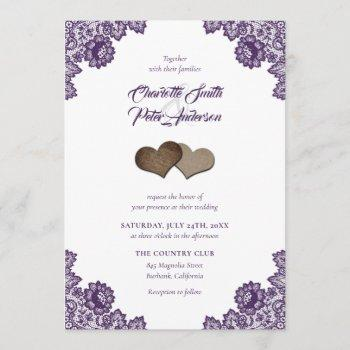 rustic purple burlap and lace wedding invitations