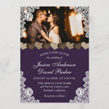 rustic purple burlap and lace wedding photo invitation