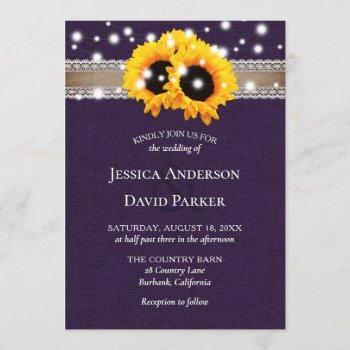 rustic purple burlap sunflower wedding invitations