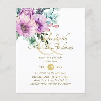 rustic purple flowers nuestra boda invitacions