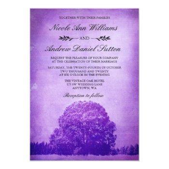 rustic purple oak tree wedding invitation