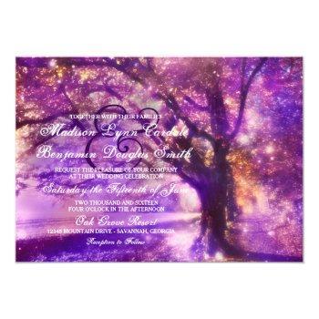 rustic purple oak tree wedding invitations
