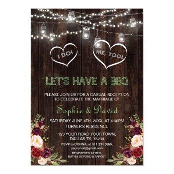 rustic red floral string lights wood i do bbq invitation