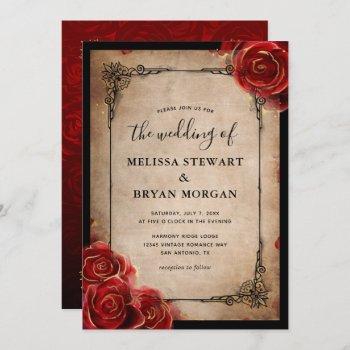 rustic red rose gold black vintage elegant wedding invitation