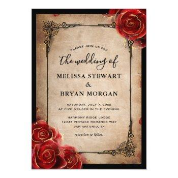 Small Rustic Red Rose Gold Black Vintage Elegant Wedding Invitation Front View