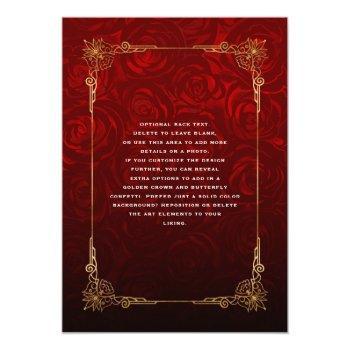 Small Rustic Red Rose Gold Black Vintage Elegant Wedding Invitation Back View