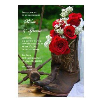 rustic roses cowboy boots country western wedding invitation