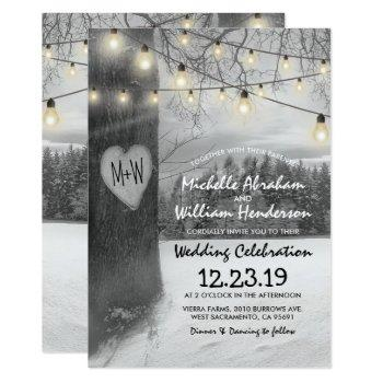 rustic silver winter tree twinkle lights wedding invitation