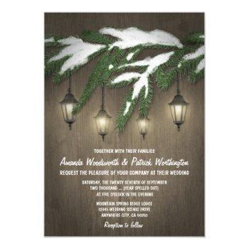 rustic snow evergreen lantern wedding invitations