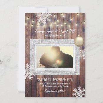 rustic snowflakes custom photo winter wedding invitation