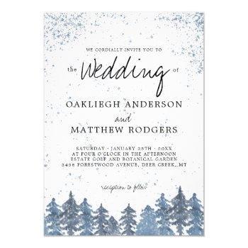 rustic snowy winter forest wedding invitation