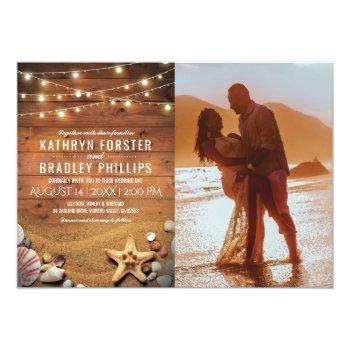 rustic starfish beach lights photo wedding invitation