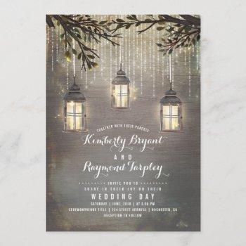 rustic string lights lanterns country wedding invitation
