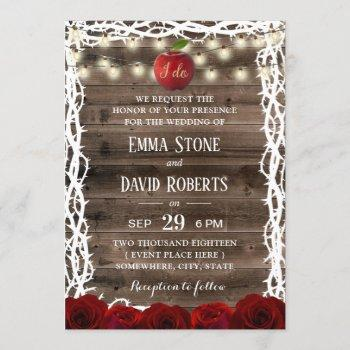 rustic string lights snow white fairy tale wedding invitation