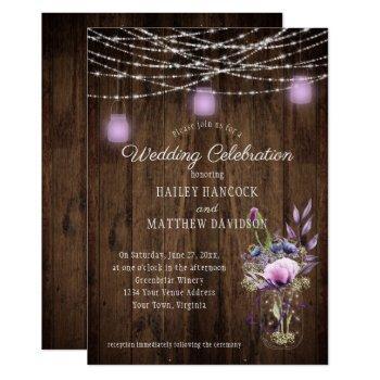 rustic string lights violet mason jars wedding invitation