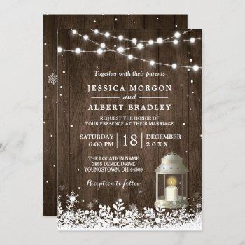 rustic string lights white lantern winter wedding invitation