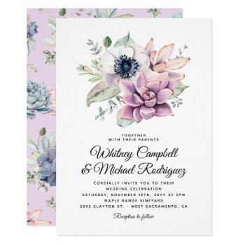 rustic succulent floral bloom wedding invitation