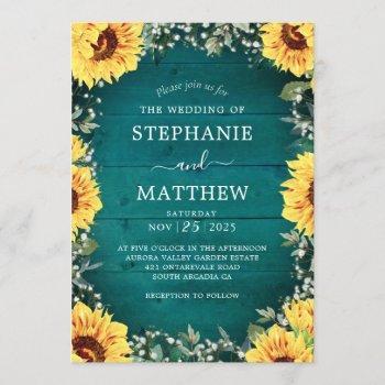 rustic sunflower babys breath border teal wedding invitation
