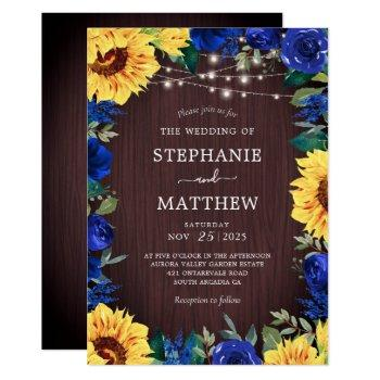 rustic sunflower blue floral lights wedding invitation