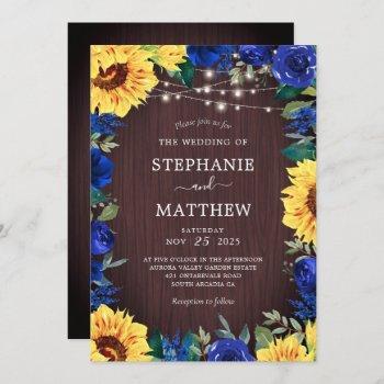 rustic sunflower blue floral lights wedding invitation