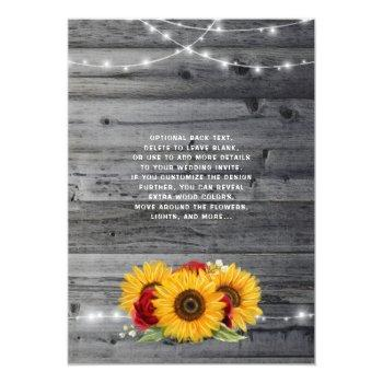 Small Rustic Sunflower Burgundy Red Rose Wood Wedding Invitation Back View