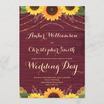 rustic sunflower burgundy string lights wedding invitation