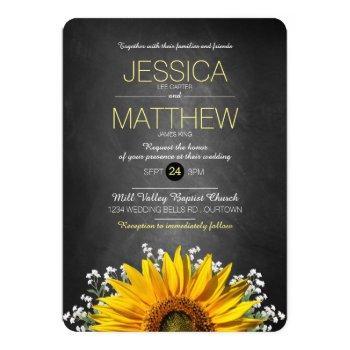 rustic sunflower chalkboard wedding invitation