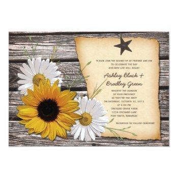 rustic sunflower daisy wedding invitation - rev