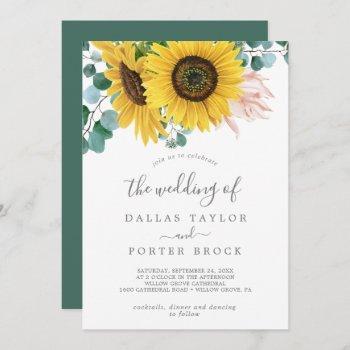 rustic sunflower eucalyptus the wedding of invitation