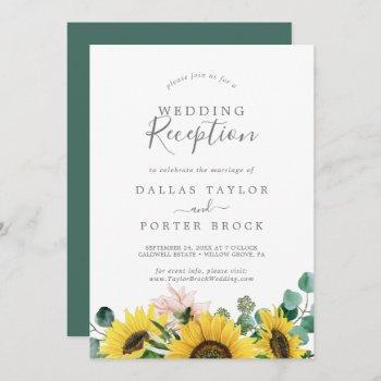 rustic sunflower eucalyptus wedding reception invitation