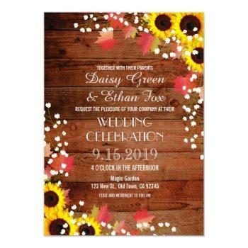 rustic sunflower fall wedding invitations
