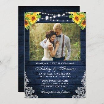 rustic sunflower floral blue wood lights photo invitation
