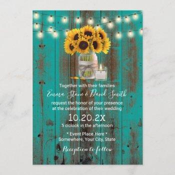 rustic sunflower floral jar teal barn wood wedding invitation