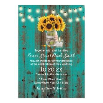 Small Rustic Sunflower Floral Jar Teal Barn Wood Wedding Invitation Front View
