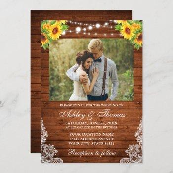 rustic sunflower floral wood string lights photo invitation