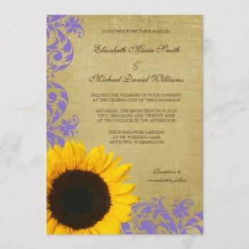rustic sunflower lavender swirls wedding invitation