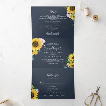 rustic sunflower | navy photo wedding all in one tri-fold invitation