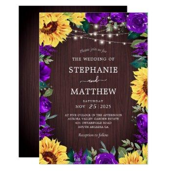 rustic sunflower purple floral lights wedding invitation