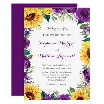 rustic sunflower purple floral wedding invitation