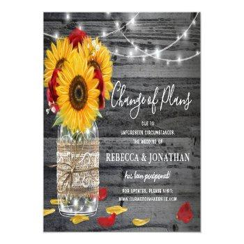 Small Rustic Sunflower Rose Wedding Change The Date Announcement Postcard Front View