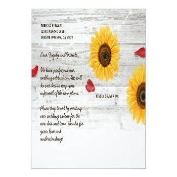 Small Rustic Sunflower Rose Wedding Change The Date Announcement Postcard Back View