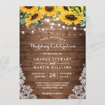 rustic sunflower string lights fall autumn wedding invitation