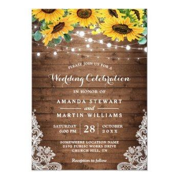 Small Rustic Sunflower String Lights Fall Autumn Wedding Front View